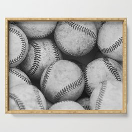 Baseballs Black & White Graphic Illustration Design Serving Tray