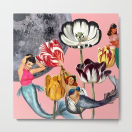 Mermaid Floral with moon Metal Print