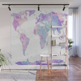 Unicorn Earth Map Wall Mural