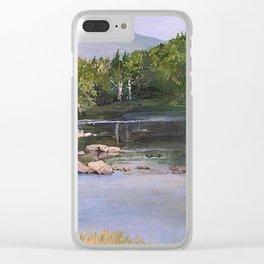 Landscape Vermont Summer River Watercolor Clear iPhone Case