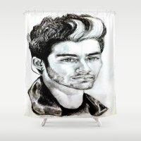 zayn malik Shower Curtains featuring Zayn Malik drawing by Clairenisbet