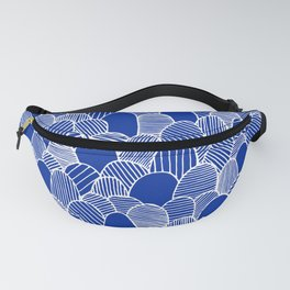 Striped Scallops - White on Blue Fanny Pack