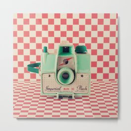 Mint Retro Camera on Red Chequered Background  Metal Print