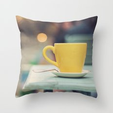 The yellow cup Throw Pillow