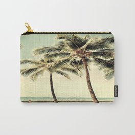 Retro Vintage Palm Tree with Hawaii Summer Sea Beach Carry-All Pouch