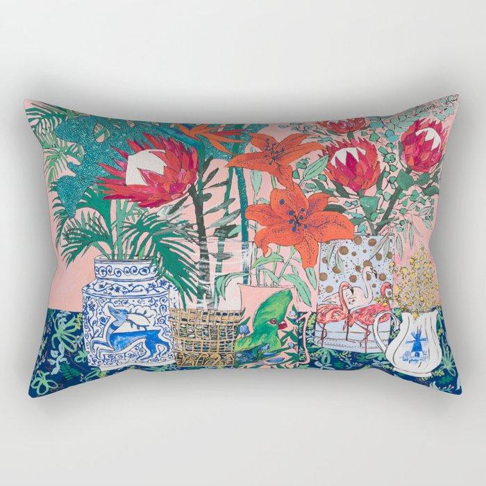 The Domesticated Jungle - Floral Still Life Rectangular Pillow