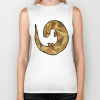 otter Biker Tanks featuring Otter by Jackie Wyant
