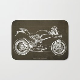 Motorcycle blueprint, Superbike 1299 Panigale, 2015,brown background, gift for men, classic bike Bath Mat