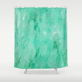 Neon Aqua Metallic Foil Shower Curtain