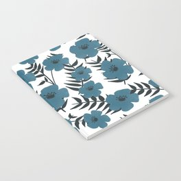 Blue Flowers with Banana Leaves Notebook