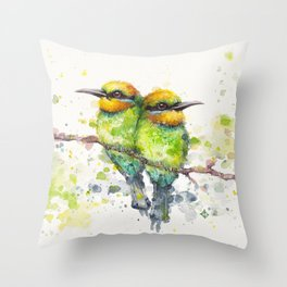 Family (Rainbow Bee Eaters) Throw Pillow