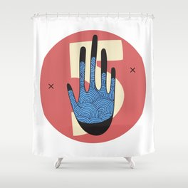 High Five in Blue Shower Curtain