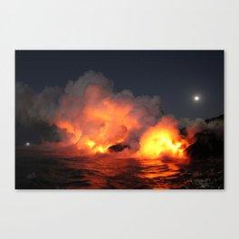 When Lava Meets the Ocean Canvas Print