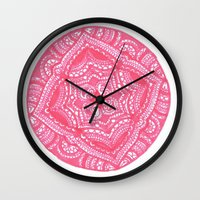preppy Wall Clocks featuring Preppy Flower by Brenna Whitton