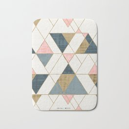 Mod Triangles - Pink, Blue, Gold by Crystal Walen Bath Mat