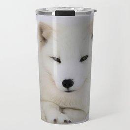 Cute white arctic fox resting in snow Travel Mug