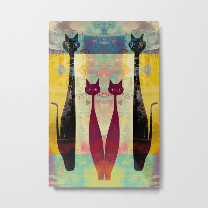 Mid-Century Modern Art 4 Cats - Graffiti Style Metal Print