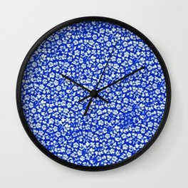 Vintage Flowers Sapphire Blue Wall Clock