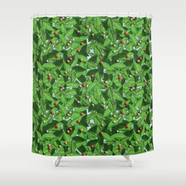 Leaves and red berries pattern Shower Curtain