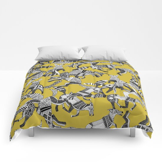 woodland fox party ochre yellow Comforters