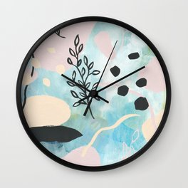 Spring Vibes - Modern Abstract Art Color Shapes Painting Wall Clock