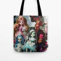 monster high Tote Bags featuring We're All Mad Monster High Dolls MHSQ by KittRen