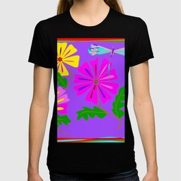 Lavender background of a Floral Design with Dragonfly T-shirt