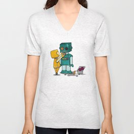 Robots on Friendship Unisex V-Neck