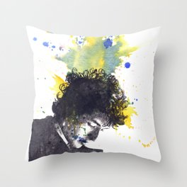 Portrait of Bob Dylan in Color Splash Throw Pillow