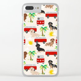 Dachshund Beach day palm tree summer dog cute dog pillow dog blanket beach towel Clear iPhone Case