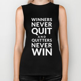 Winners Never Quit - Vince Lombardi quote Biker Tank