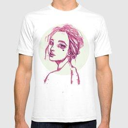 Pink Girl in a Green Circle T-shirt