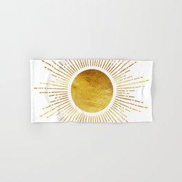 Golden Sunburst Starburst White Hot Hand & Bath Towel