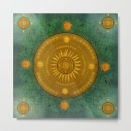 """Celestial & Ocher Vault Mandala"" Metal Print"