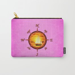 Sailboat And Compass Rose Pink Carry-All Pouch
