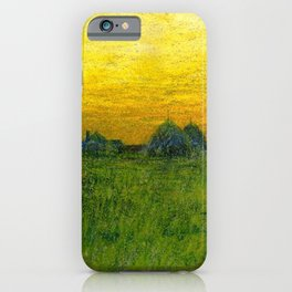Haystacks amid a Golden Sunset landscape by Charles Warren Eaton iPhone Case