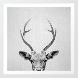Deer - Black & White Art Print