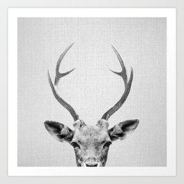 Deer - Black & White Art Print