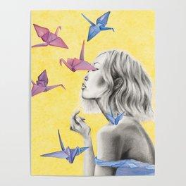 Watercolor Cranes Poster