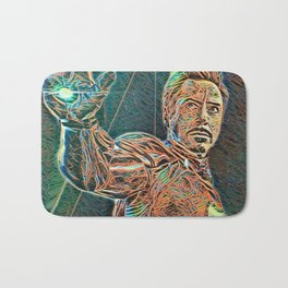 Iron Man Tony Stark Artistic Illustration Wires Style Bath Mat