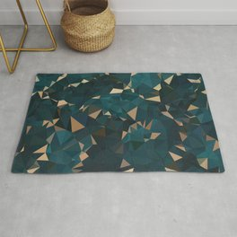 Gold Teal Abstract Low Poly Geometric Triangles Rug