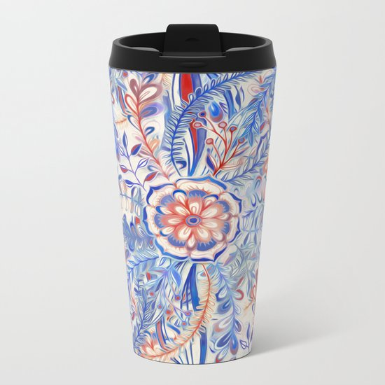 Boho Flower Burst in Red and Blue Metal Travel Mug