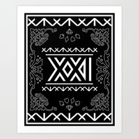 2ne1 Art Prints featuring 2NE1 - Roman Numeral Motif by Betwixt