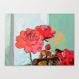 Two Roses at the window Canvas Print