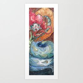 Tears - Surreal Lowbrow art - snake in fire and water, red blue Art Print