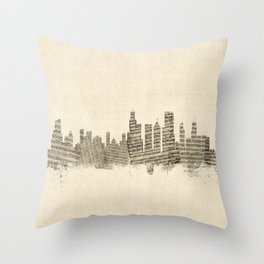 Chicago Illinois Skyline Sheet Music Cityscape Throw Pillow