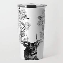 The Stag and Roses | Black and White Travel Mug