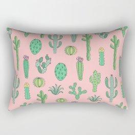Cactus Pattern Pink Rectangular Pillow