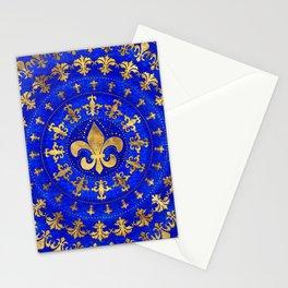 Fleur-de-lis ornament Lapis Lazuli and Gold Stationery Cards