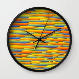Flowing bright yellow scribbles of art waves and light blue lines. Wall Clock